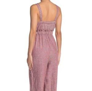 Romeo & Juliet Couture Pants - Romeo & Juliet Brick/Ivory Linen Blend Jumpsuit